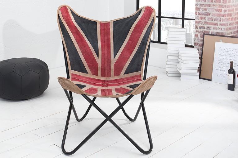 Designklassiker Lounge Sessel BUTTERFLY Union Jack Eisengestell