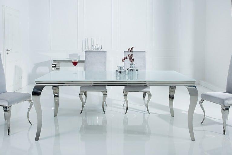 Stylischer Design Esstisch MODERN BAROCK 180cm Edelstahl mit Tischplatte aus weißem Opalglas