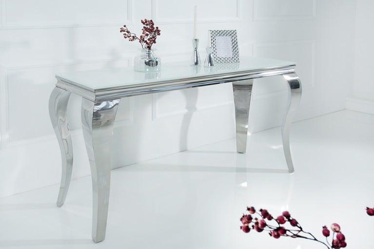 Stylischer Design Konsolentisch MODERN BAROCK 140cm Edelstahl mit Tischplatte aus weißem Opalglas