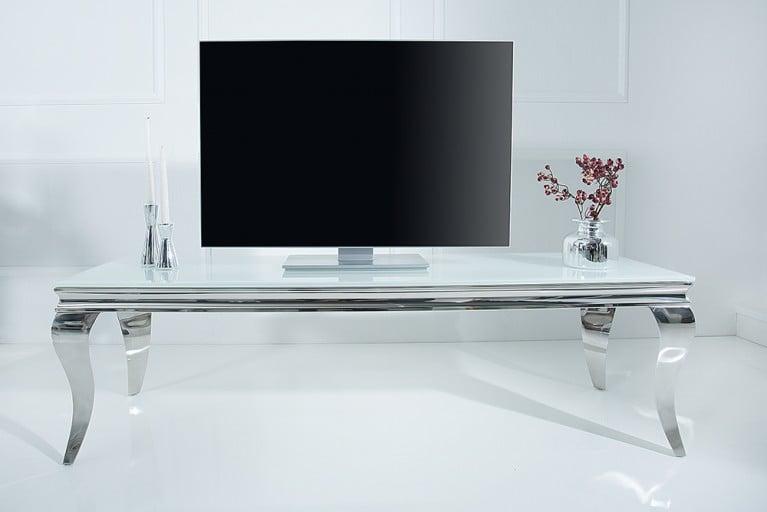 Stylischer TV Tisch MODERN BAROCK 160cm Lowboard Edelstahl Weißes Opalglas