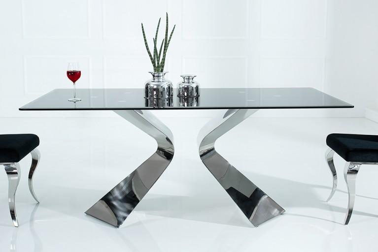 Stylischer Esstisch NEO BAROCK 180cm schwarzes Opalglas Edelstahl