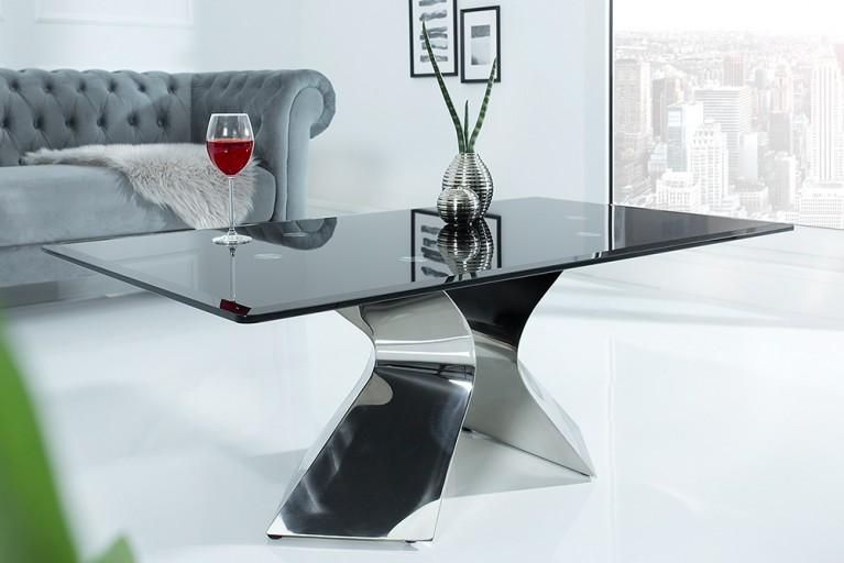 Stylischer Couchtisch NEO BAROCK 130cm schwarzes Opalglas Edelstahl