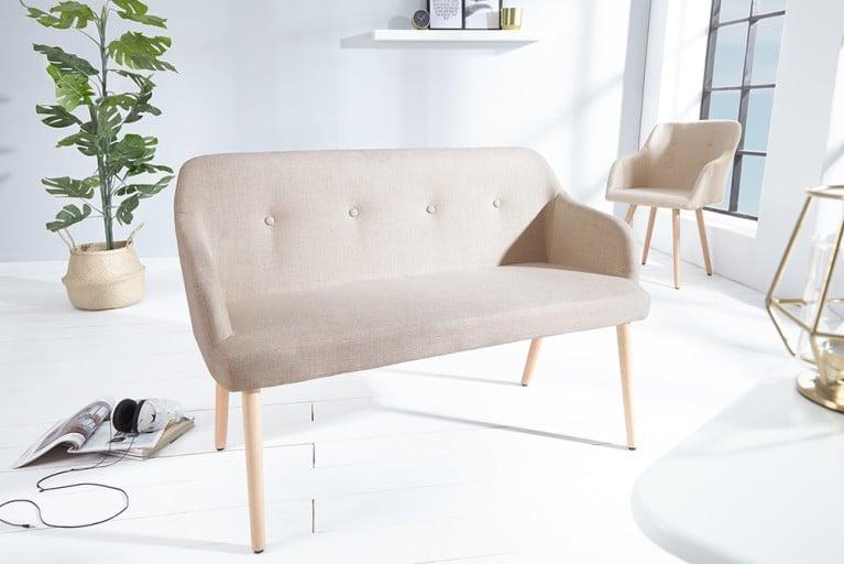 Exklusive Design Sitzbank SCANDINAVIA MEISTERSTÜCK Buche Gestell natur mit Armlehne im Retro Trend