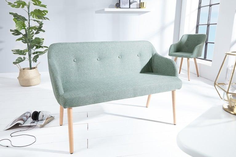 Exklusive Design Sitzbank SCANDINAVIA MEISTERSTÜCK Buche Gestell lime mit Armlehne im Retro Trend