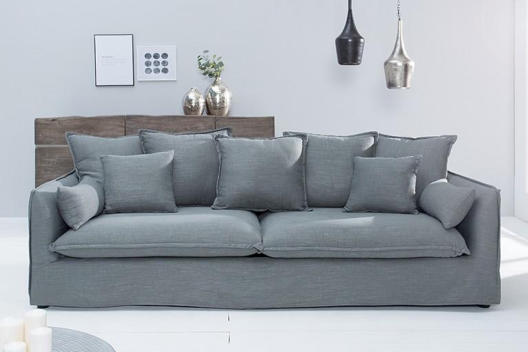 Großes Hussensofa HEAVEN 215 cm olivgrau Leinenstoff 3er Sofa