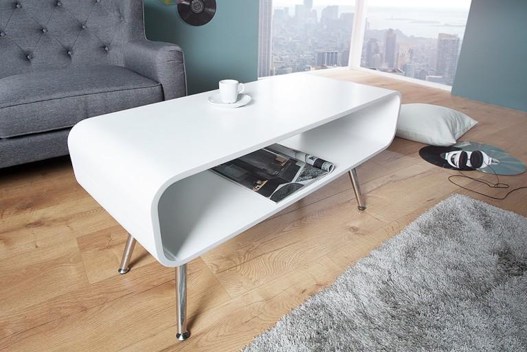 Design Couchtisch APOLLO weiß chrom TV-Board Retro