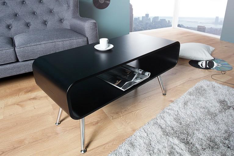 Design Couchtisch APOLLO schwarz chrom TV-Board Retro