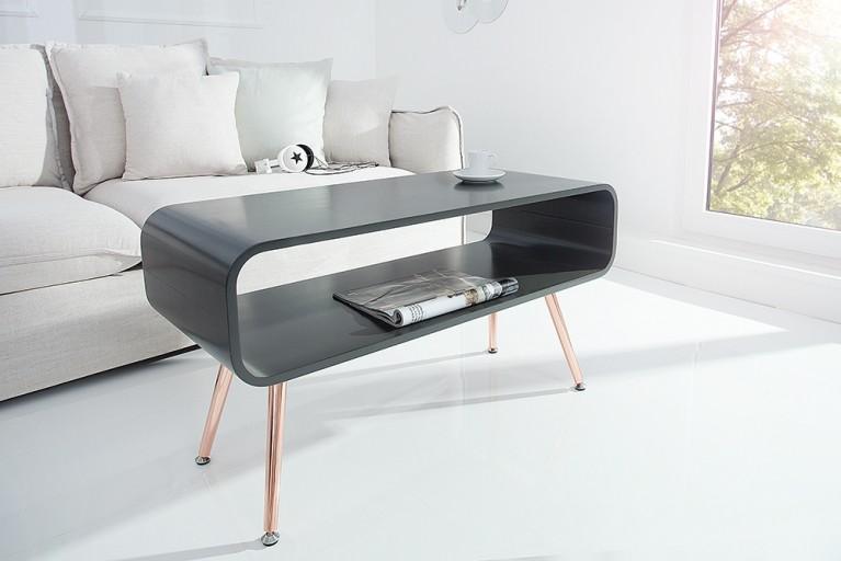 Design Couchtisch APOLLO anthrazit kupfer TV-Board Retro