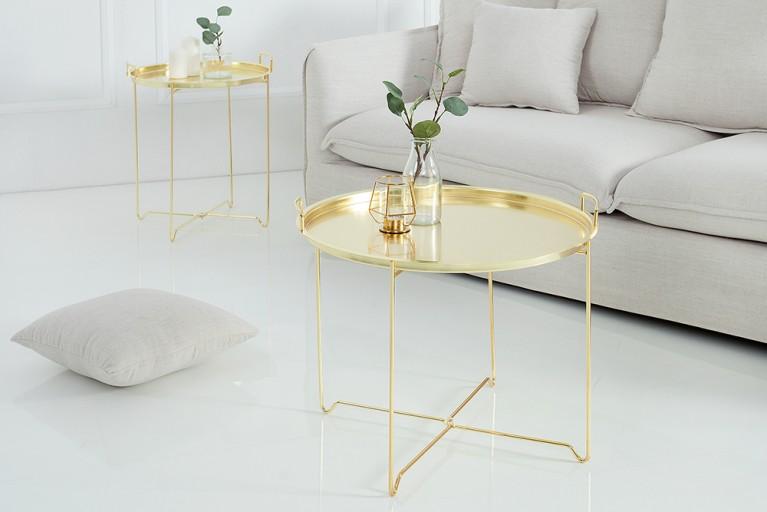 Orientalischer Couchtisch MARRAKESCH Tablett-Tisch 60 cm klappbar gold
