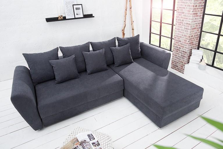 Modernes Ecksofa PALMA grau Soft Baumwolle Federkern Schlaffunktion