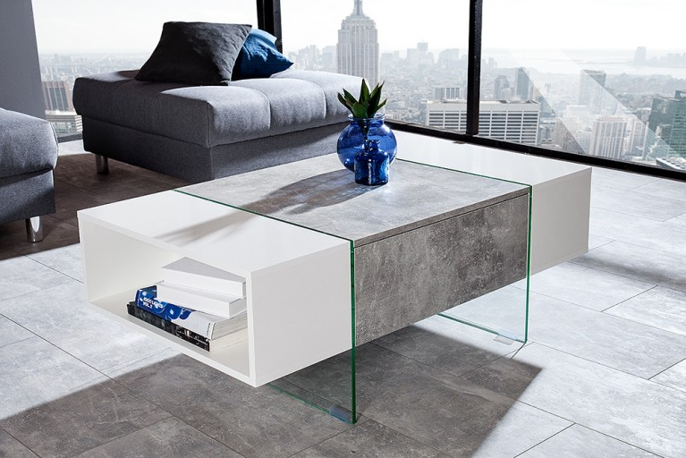 Design Couchtisch CEMENT COLLECTION Hochglanz weiß Beton Optik