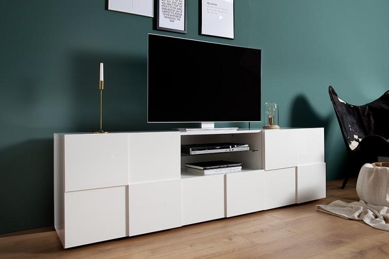 Modernes TV-Board RELIEF 180cm weiß Hochglanz