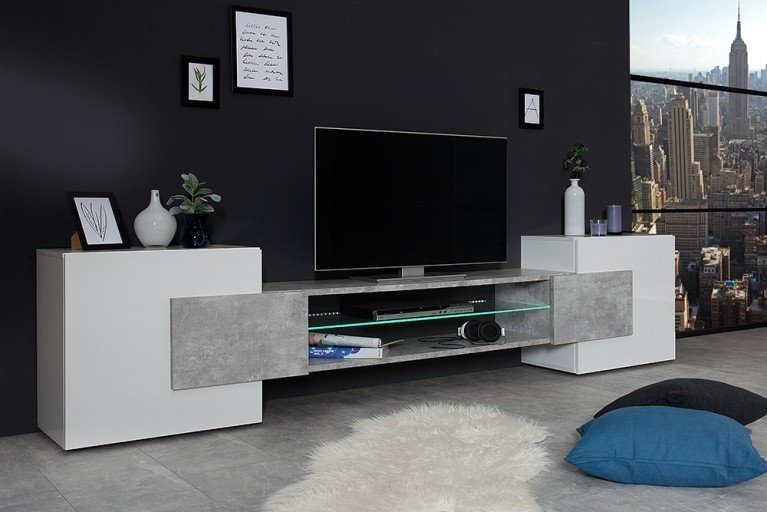 Modernes TV Element CEMENT COLLECTION II 260 cm weiß Beton Optik made in Italy