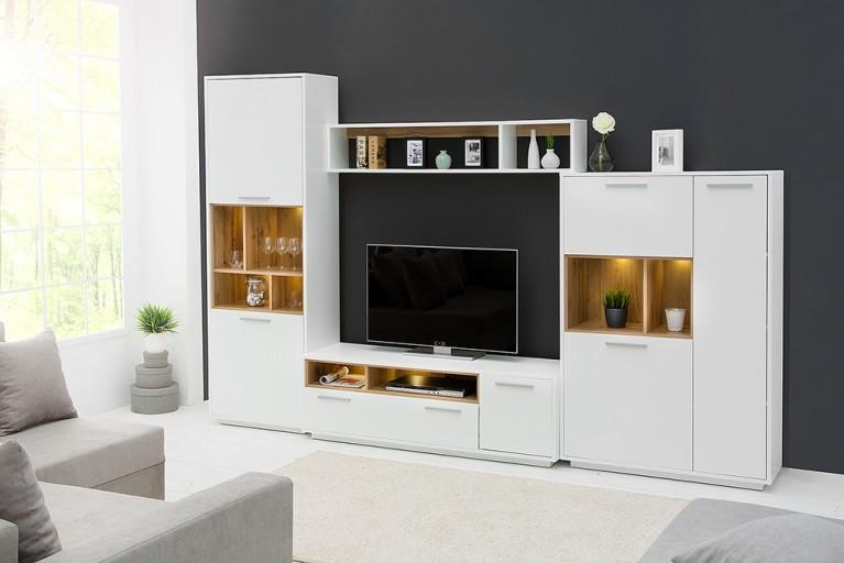 Moderne Anbauwand SYMBIOSIS 300cm Hochglanz weiß Wildeiche inkl. LED Beleuchtung