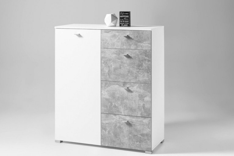 Moderne Kommode MANHATTAN 100 cm Hochglanz weiß Beton-Optik