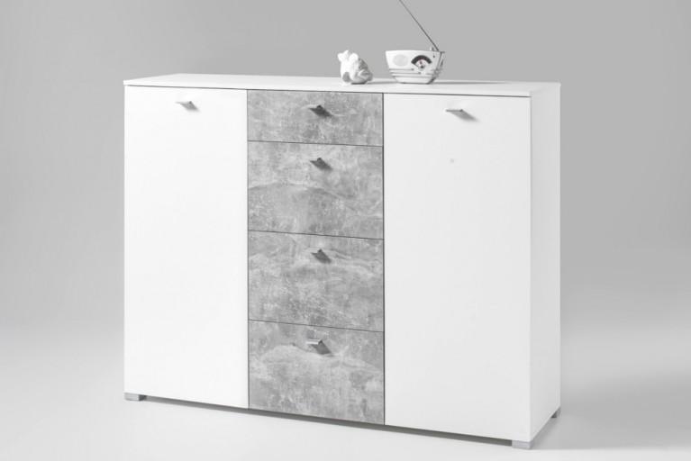 Moderne Kommode MANHATTAN 150 cm Hochglanz weiß Beton-Optik