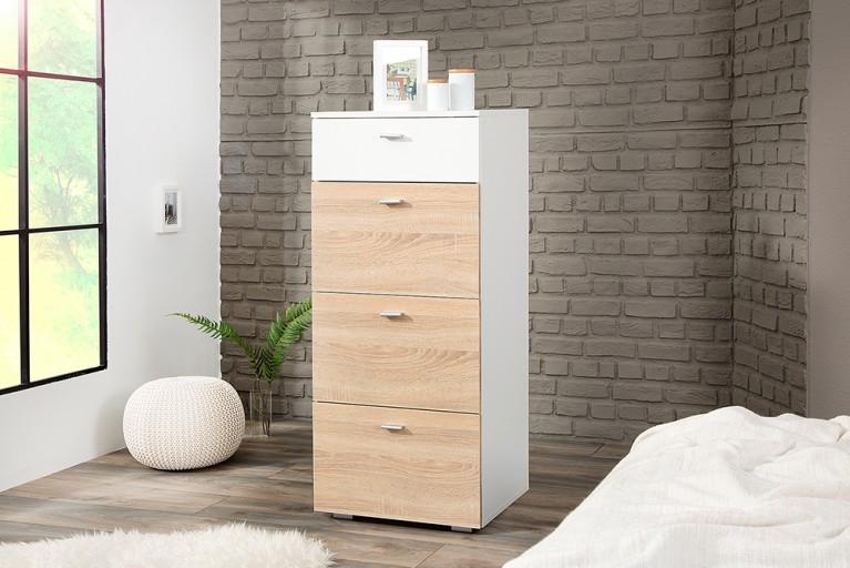 Schlafzimmer Kommode MANHATTAN 50 cm matt weiß Sonoma Eiche