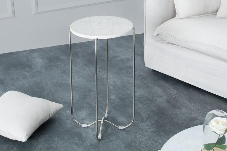 Exklusiver Beistelltisch NOBLE aus hochwertig verarbeitetem weißen Marmor Tisch Marmorplatte Wohnzimmertisch
