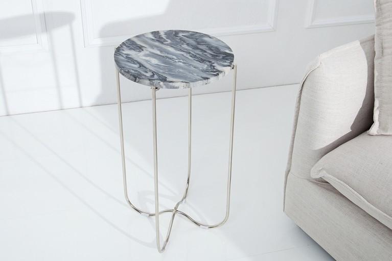 Exklusiver Beistelltisch NOBLE aus hochwertig verarbeitetem grauem Marmor