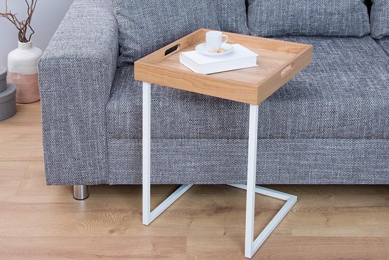 Design Beistelltisch CIANO Tablett-Tisch Eiche weiß Tabletttisch
