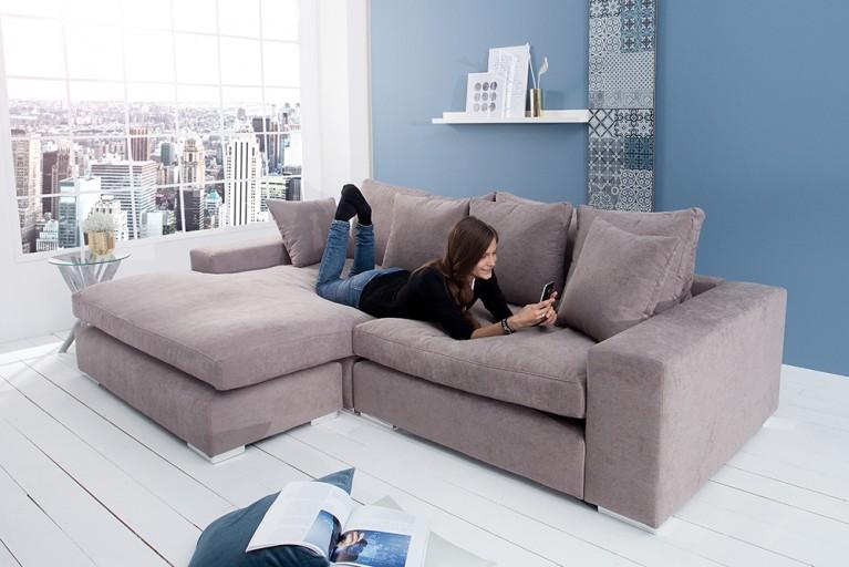 Design Ecksofa MINO 275cm greige Soft Baumwolle inkl. Kissen