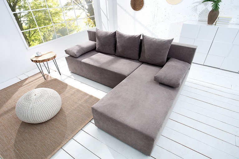 Design Ecksofa CUBUS Soft Baumwolle greige mit Schlaffunktion und Bettkasten