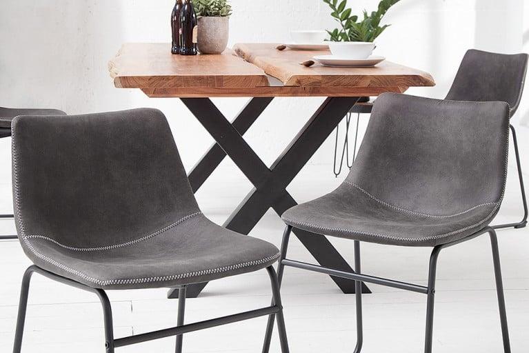 Design Stuhl DJANGO vintage grau mit Eisengestell