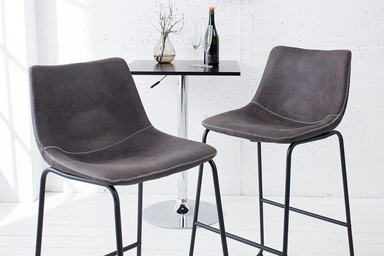 Design Barstuhl DJANGO vintage grau mit Eisengestell