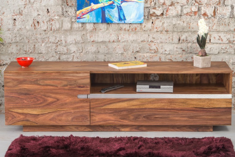 Massives TV Board FIRE & EARTH II 160cm Sheesham-Holz stone finish einzigartige Maserung