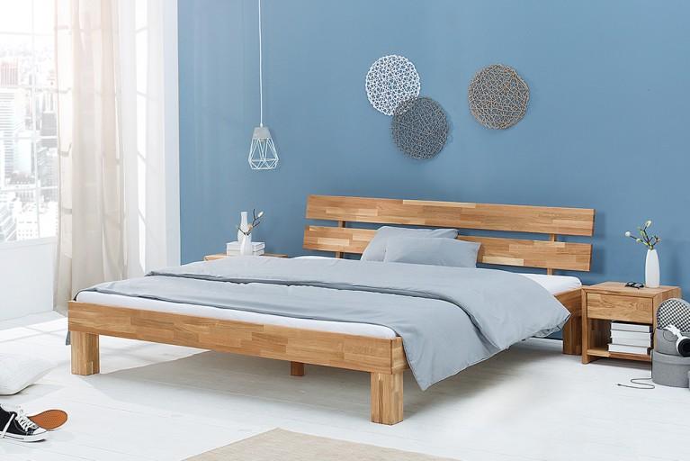 Modernes Design Doppelbett WOTAN 180cm Massivholz Eiche geölt