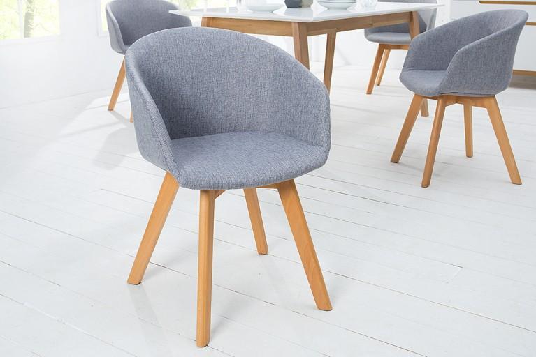 Design Stuhl STOCKHOLM mit Armlehne Strukturstoff dunkelgrau Buche Gestell