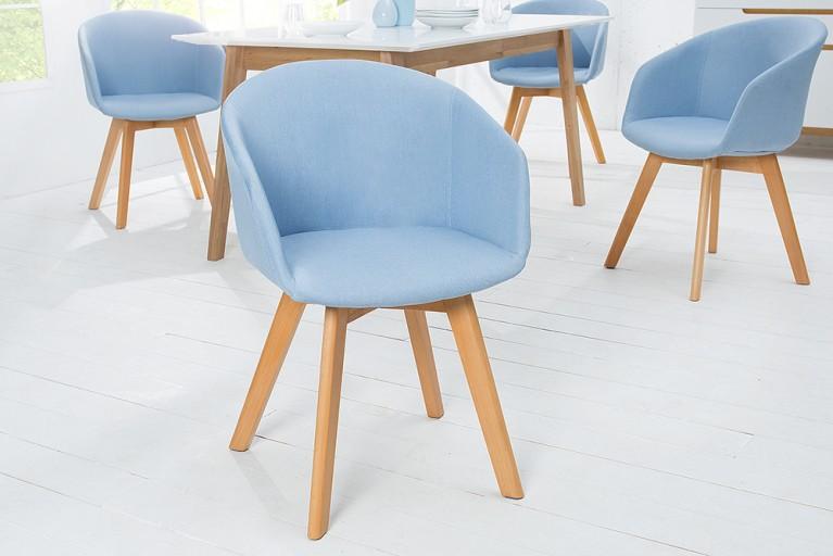 Design Stuhl STOCKHOLM mit Armlehne Strukturstoff blau Buche Gestell