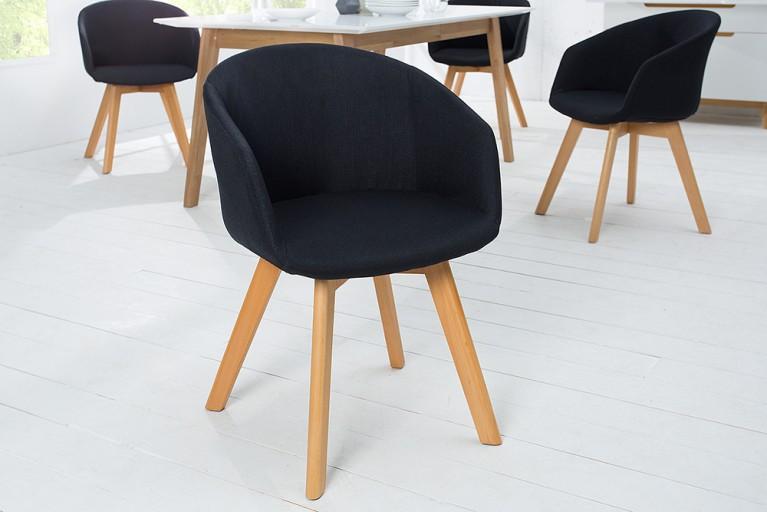 Design Stuhl STOCKHOLM mit Armlehne Strukturstoff schwarz Buche Gestell