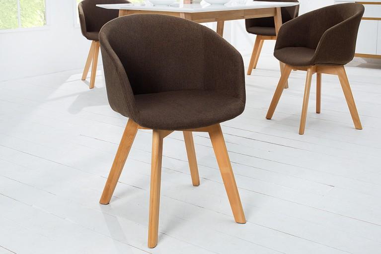Design Stuhl STOCKHOLM mit Armlehne Strukturstoff braun Buche Gestell