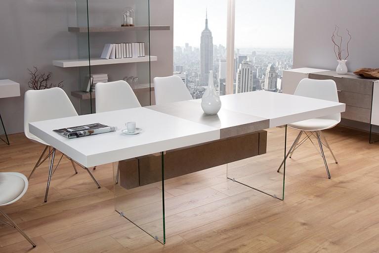 Ausziehbarer Design Esstisch ONYX 160-200cm edelmatt weiß Beton-Optik