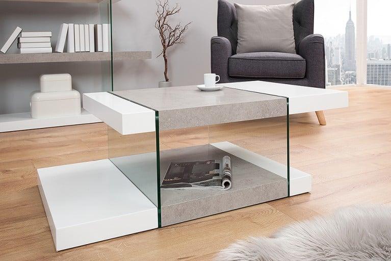 Design Couchtisch ONYX 110 cm edelmatt weiß Beton-Optik