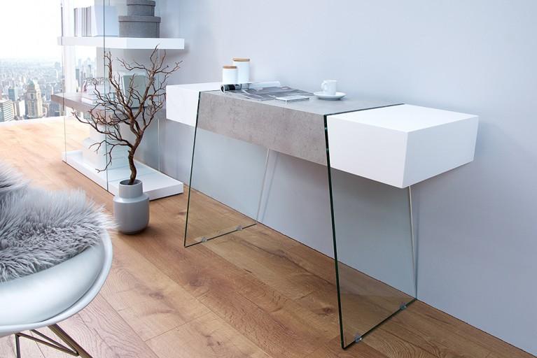 Design Konsole ONYX 120 cm edelmatt weiß Beton-Optik