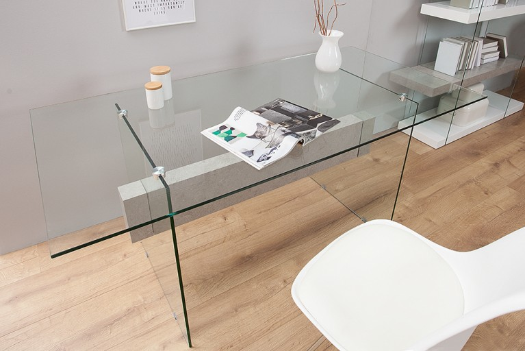 Design Schreibtisch ONYX 160 cm Glas Beton-Optik Esstisch