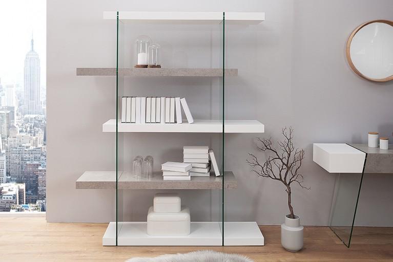 Design Regal Schrank ONYX 140 cm edelmatt weiß Beton-Optik