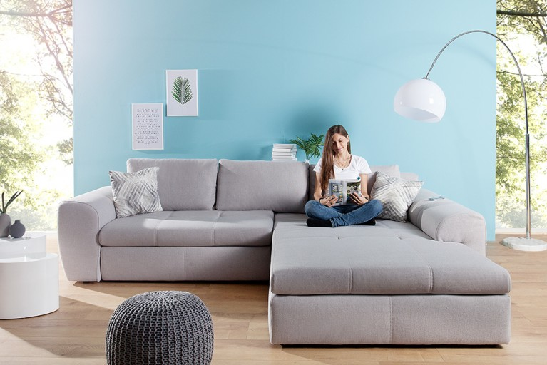 Modernes Design Big Sofa Weekend Aquamarin Schlaffunktion