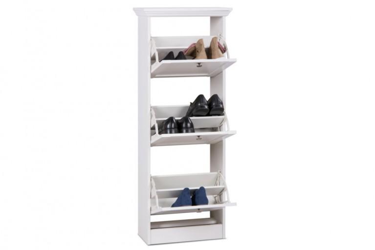 Klassischer Design Schuhschrank PROVENCE 130cm weiß Landhausstil