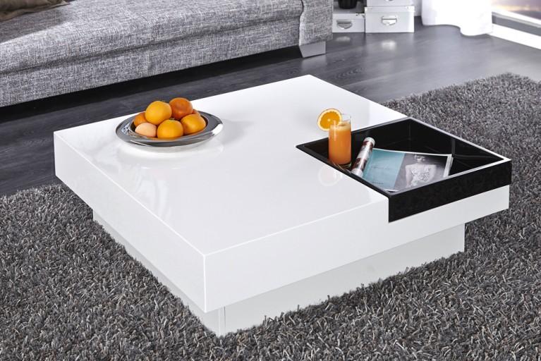 Design Couchtisch CUEBASE weiß mit integriertem Tablett Hochglanz