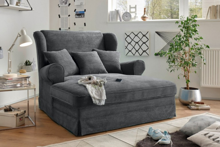 Design XXL Loveseat Sessel MELBOURNE anthrazit Cord mit Kissen Ohrensessel