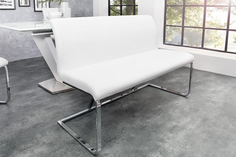 Elegante Design Sitzbank HAMPTON Weiß 130cm Mit Rückenlehne