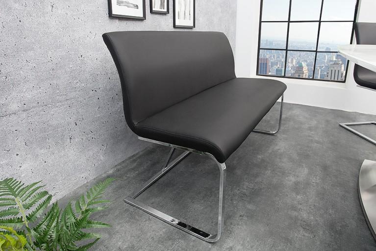 Elegante Design Sitzbank HAMPTON Schwarz 130cm Mit Rückenlehne
