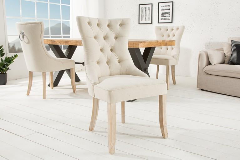 Design Stuhl CASTLE Beige Mit Chesterfield Steppung Im Landhausstil