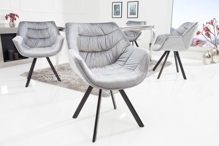 AuBergewohnlich Design Stuhl THE DUTCH COMFORT Samt Grau Hochwertig Gepolstert Mit Armlehne