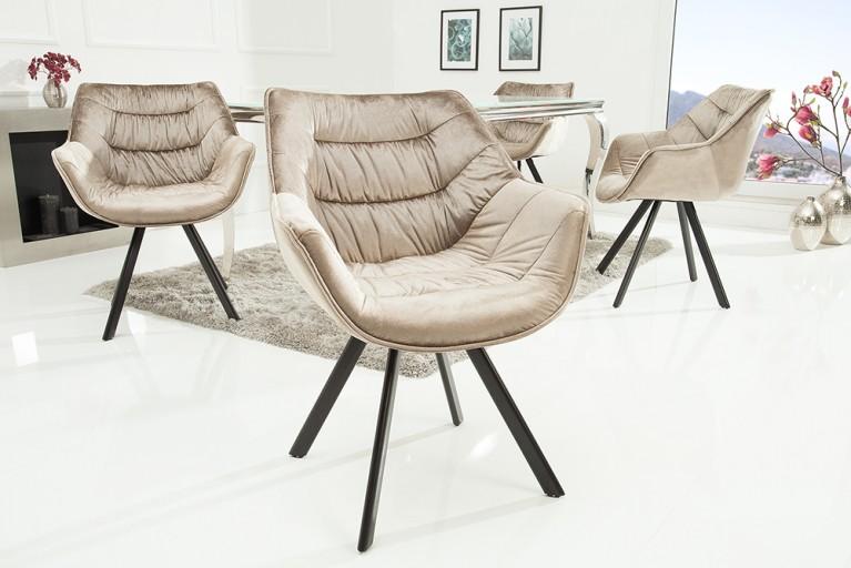 Fesselnd Design Stuhl THE DUTCH COMFORT Samt Greige Hochwertig Gepolstert Mit  Armlehne