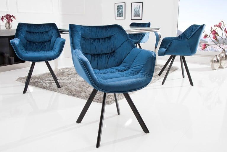 Design Stuhl THE DUTCH COMFORT Samt Blau Hochwertig Gepolstert Mit Armlehne