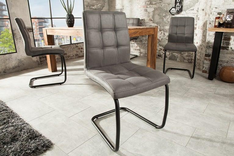 moderner freischwinger stuhl modena vintage grau designsteppung